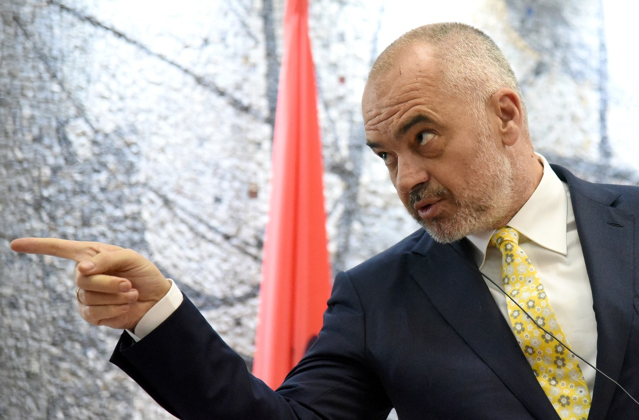 Albanian Prime Minister Edi Rama speaks during a joint press conference with Prime Minister of Montenegro Dusko Markovic (not pictured), at the Vila Gorica, in Podgorica, Montenegro, 03 April 2017. Rama arrived in Podgorica for a one day official visit., Image: 327638623, License: Rights-managed, Restrictions: , Model Release: no, Credit line: Profimedia, TEMP EPA